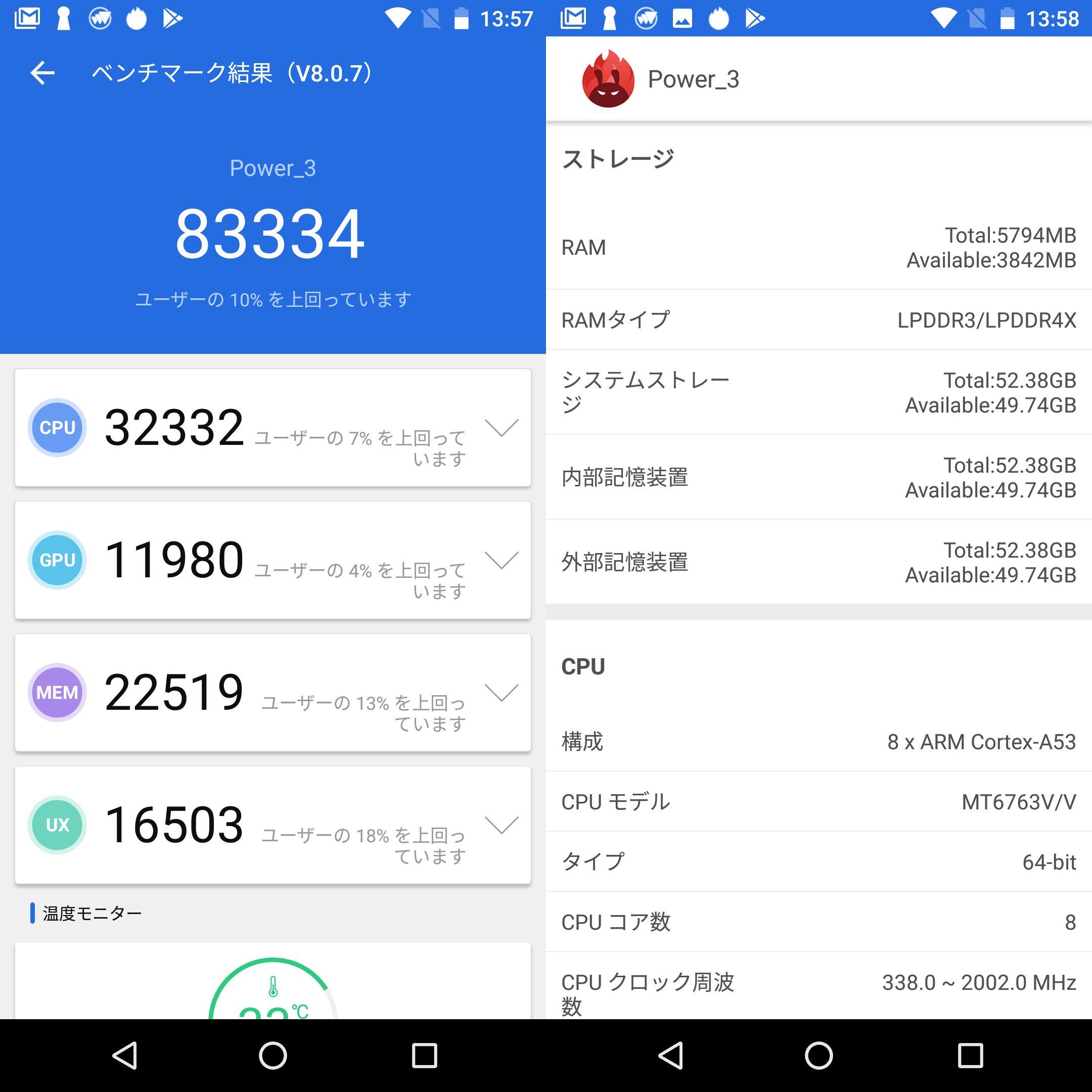 uleFone power 3(Android 7)実機AnTuTuベンチマークスコアは総合が83334点、3D性能が11980点。
