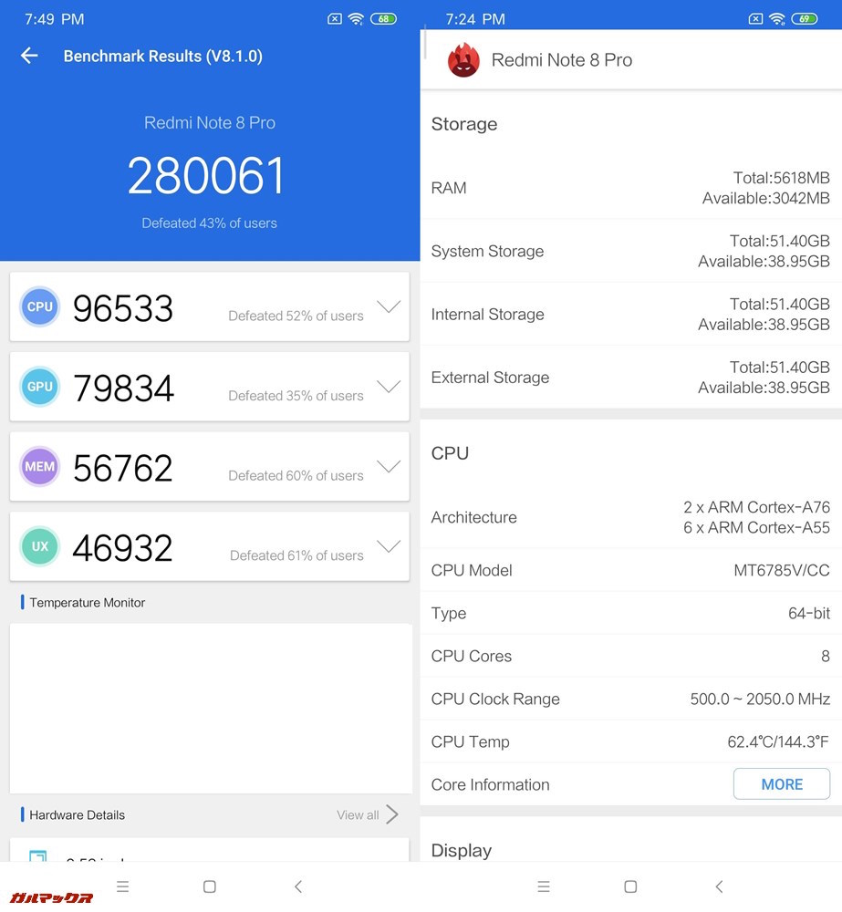 Xiaomi Redmi Note 8 Pro(Android 9)実機AnTuTuベンチマークスコアは総合が280061点、GPUスコアが79834点。