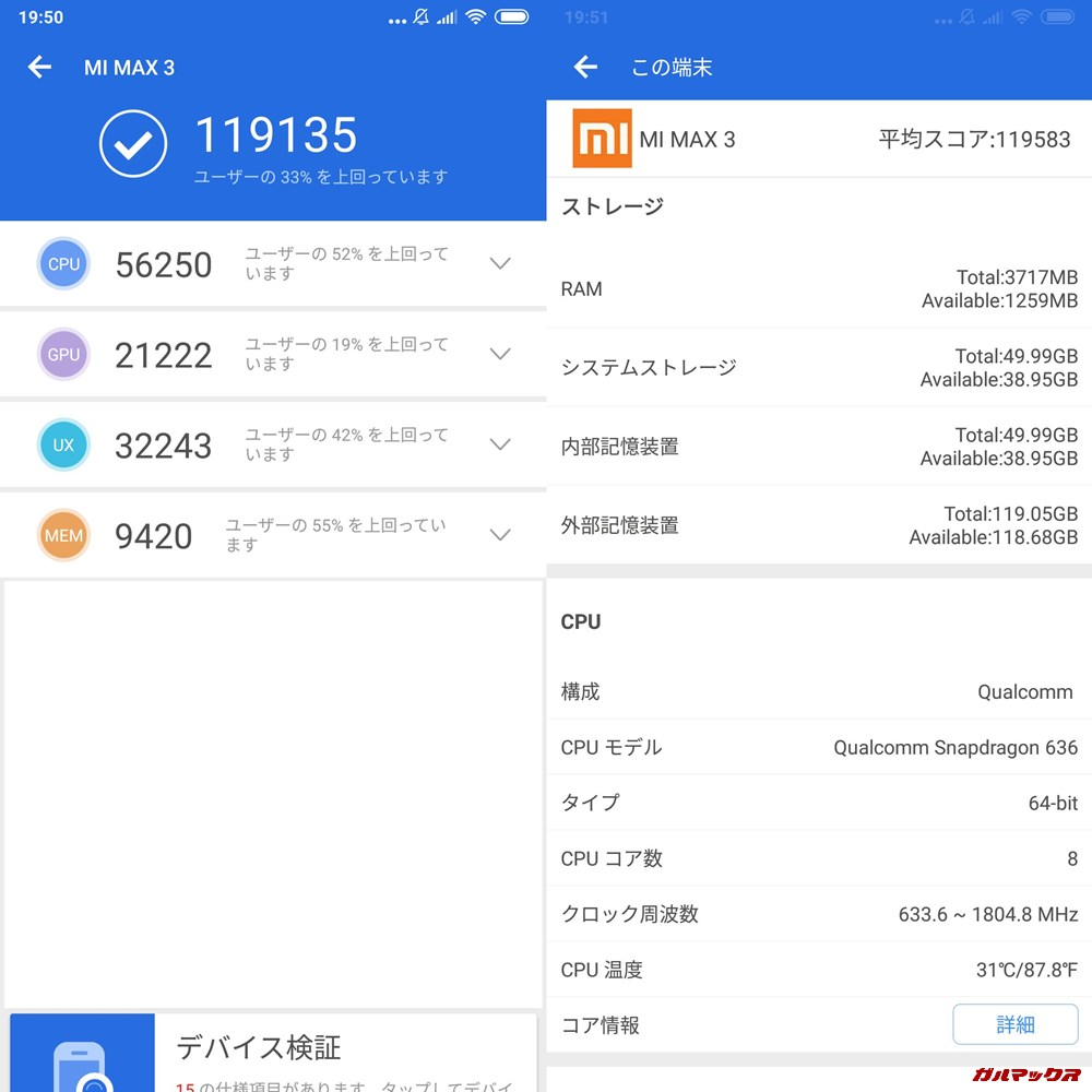 Xiaomi Mi Max 3(Android 8.1)実機AnTuTuベンチマークスコアは総合が119135点、3D性能が21222点。