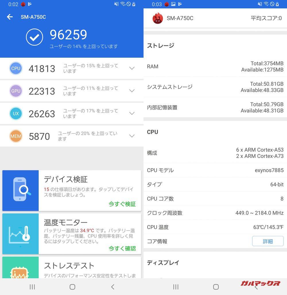 Galaxy A7(Android 9)実機AnTuTuベンチマークスコアは総合が96259点、3D性能が22313点。