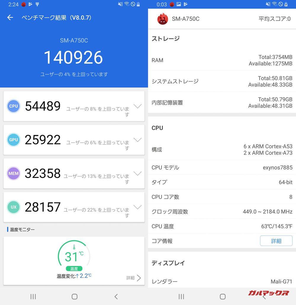 Galaxy A7(Android 9)実機AnTuTuベンチマークスコアは総合が140926点、3D性能が25922点。