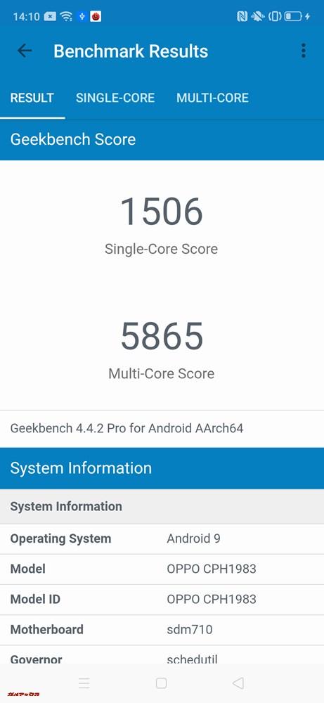 OPPO Reno AのGeekbench 4スコアはシングルコア性能が1506点、マルチコア性能が5865点。
