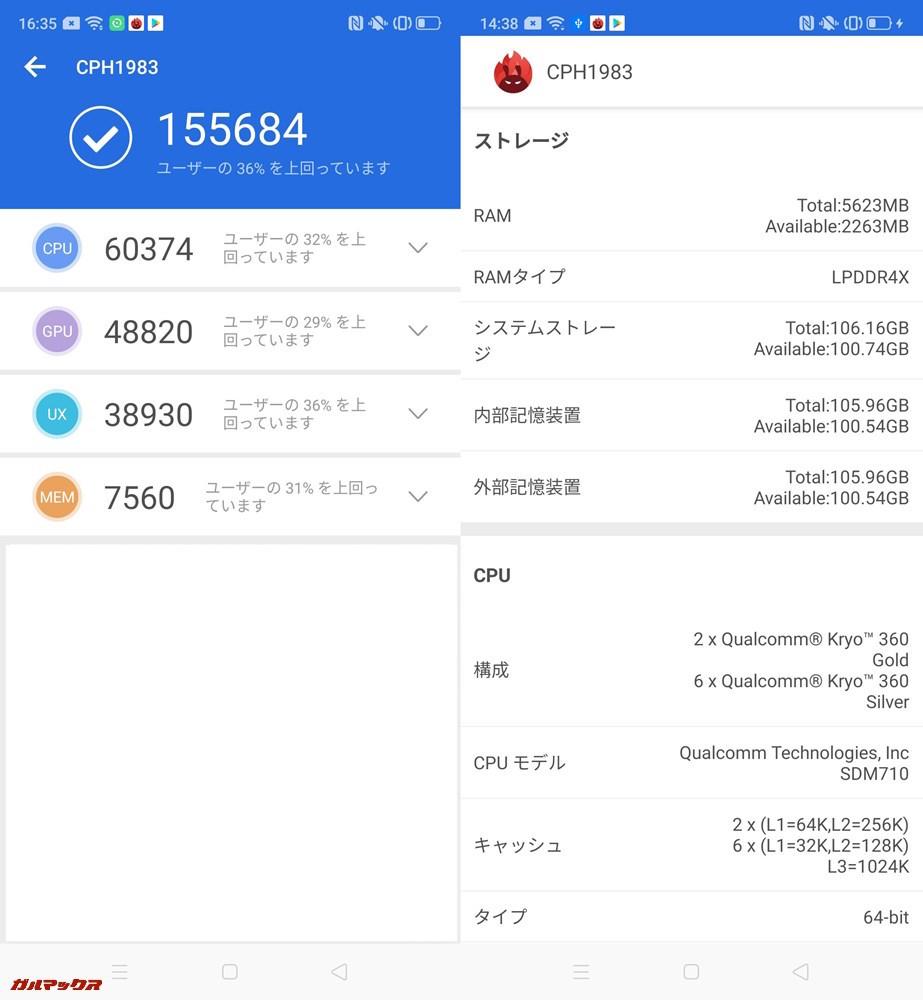 OPPO Reno A(Android 9)実機AnTuTuベンチマーク(Ver7)スコアは総合が155684点、3D性能が48820点。