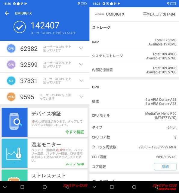 UMIDIGI X(Android 9)実機AnTuTuベンチマークスコアは総合が142407点、3D性能が32599点。