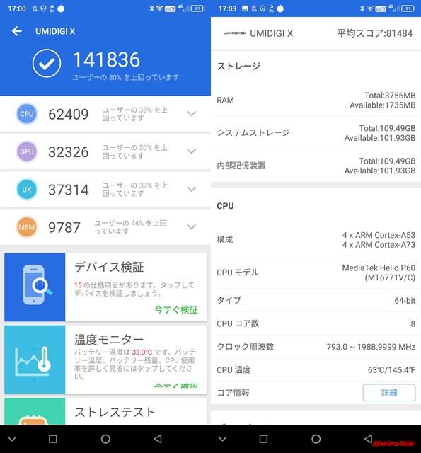 UMIDIGI X(Android 9)実機AnTuTuベンチマークスコアは総合が141836点、3D性能が32326点。