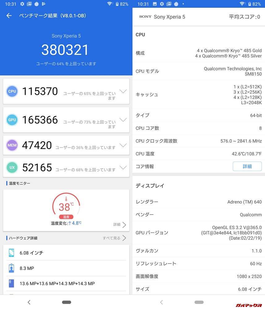 Xperia 5(Android 9)実機AnTuTuベンチマークスコアは総合が380321点、3D性能が165366点。