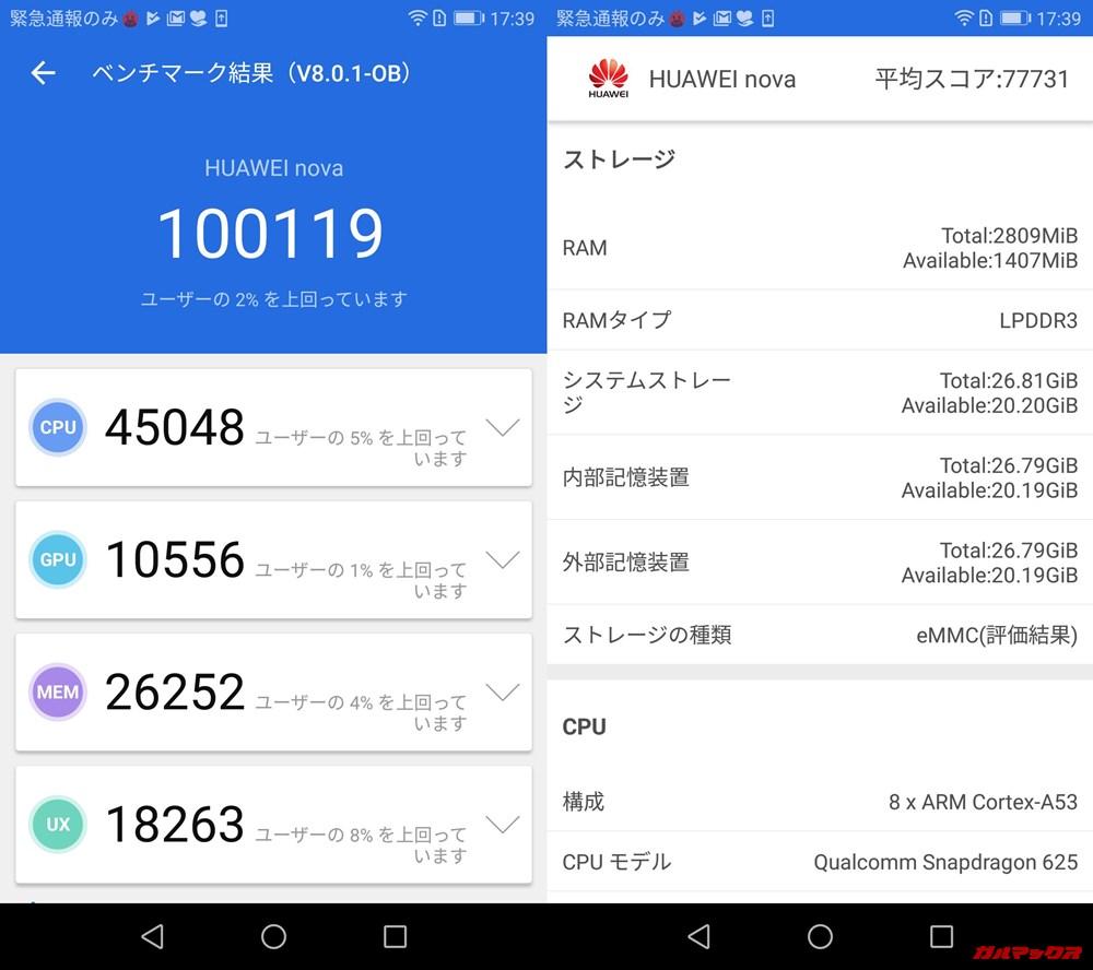 Huawei nova(Android 9)実機AnTuTuベンチマークスコアは総合が100119点、3D性能が10556点。