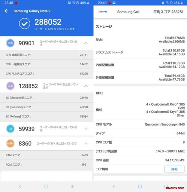 Galaxu Note 9(Android 9)実機AnTuTuベンチマークスコアは総合が288052点、3D性能が128852点。