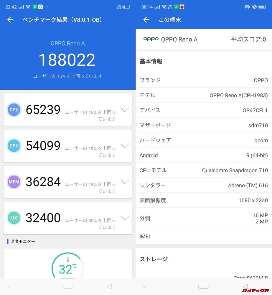 OPPO reno A(Android 9)実機AnTuTuベンチマークスコアは総合が188022点、3D性能が54099点。