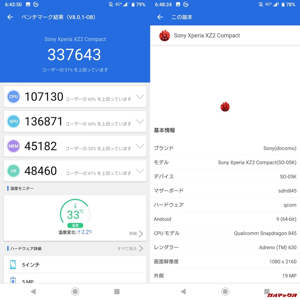 SONY Xperia XZ2 Compact(Android 9)実機AnTuTuベンチマークスコアは総合が337643点、3D性能が136871点。