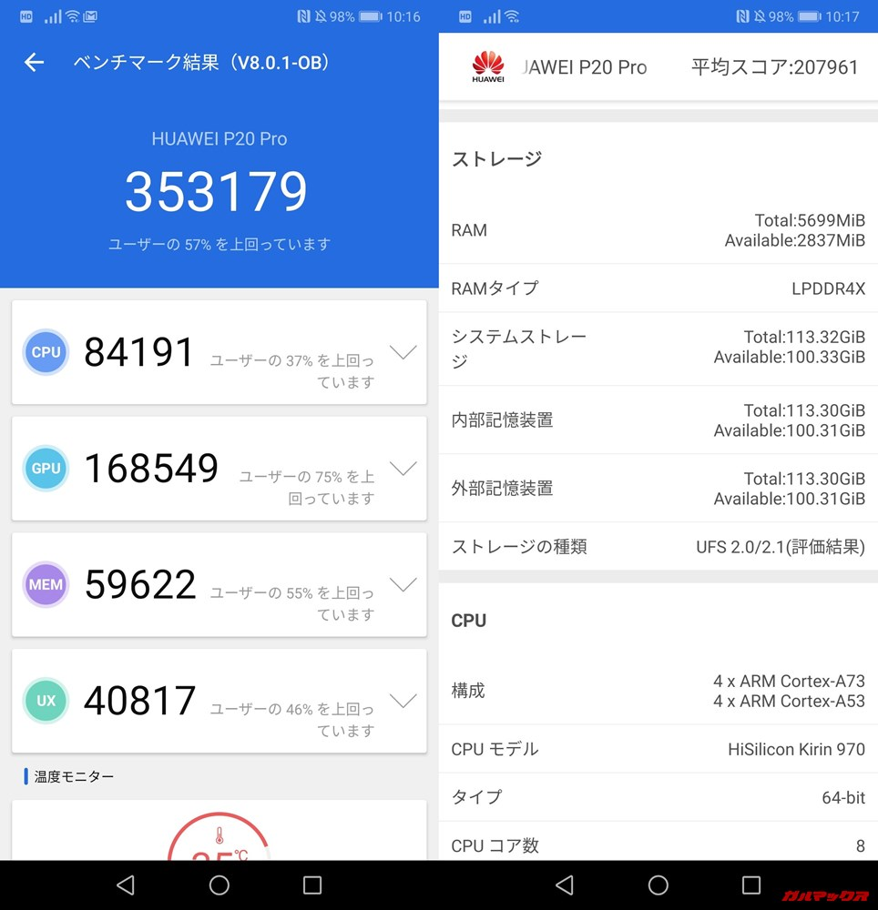 HUAWEI Mate 20 Pro(Android 9)実機AnTuTuベンチマークスコアは総合が353179点、3D性能が168549点。