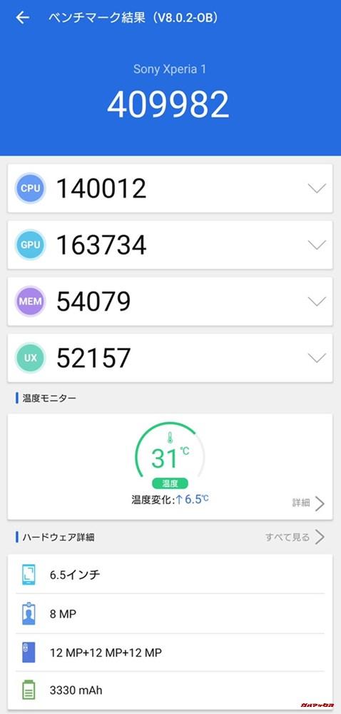 Xperia 1(Android 9)実機AnTuTuベンチマークスコアは総合が409982点、3D性能が163734点。