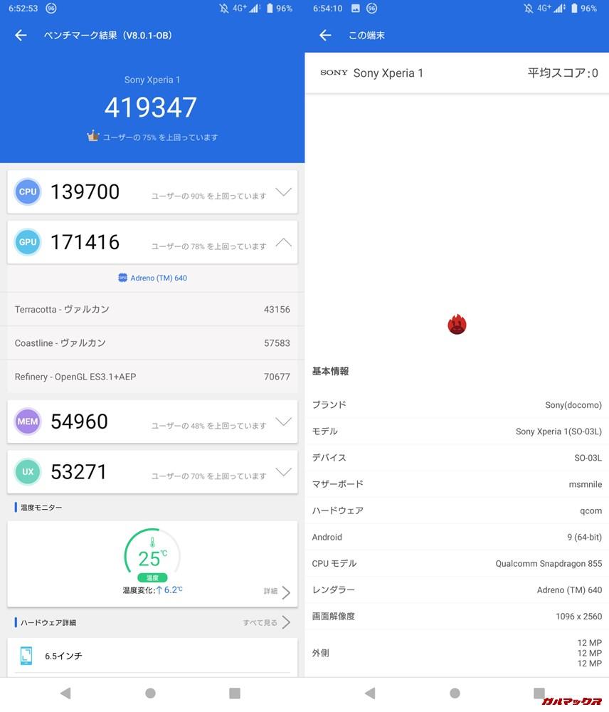 Xperia 1(Android 9)実機AnTuTuベンチマークスコアは総合が419347点、3D性能が171416点。