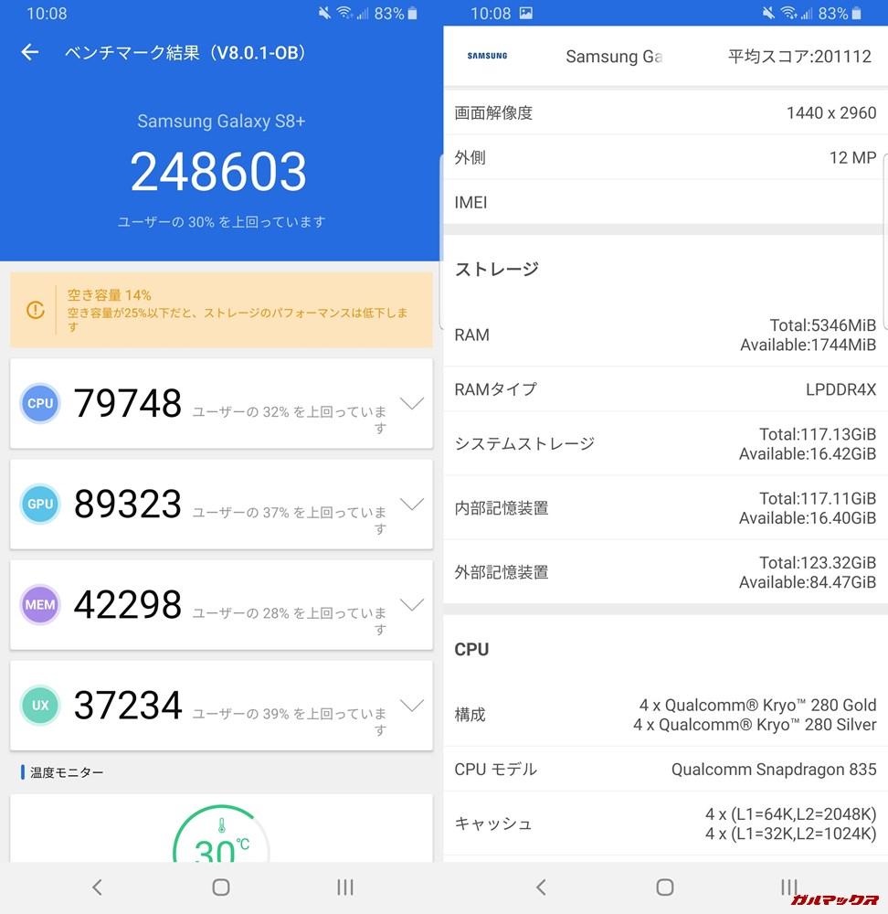Galaxy S8+(Android 9)実機AnTuTuベンチマークスコアは総合が248603点、3D性能が89323点。
