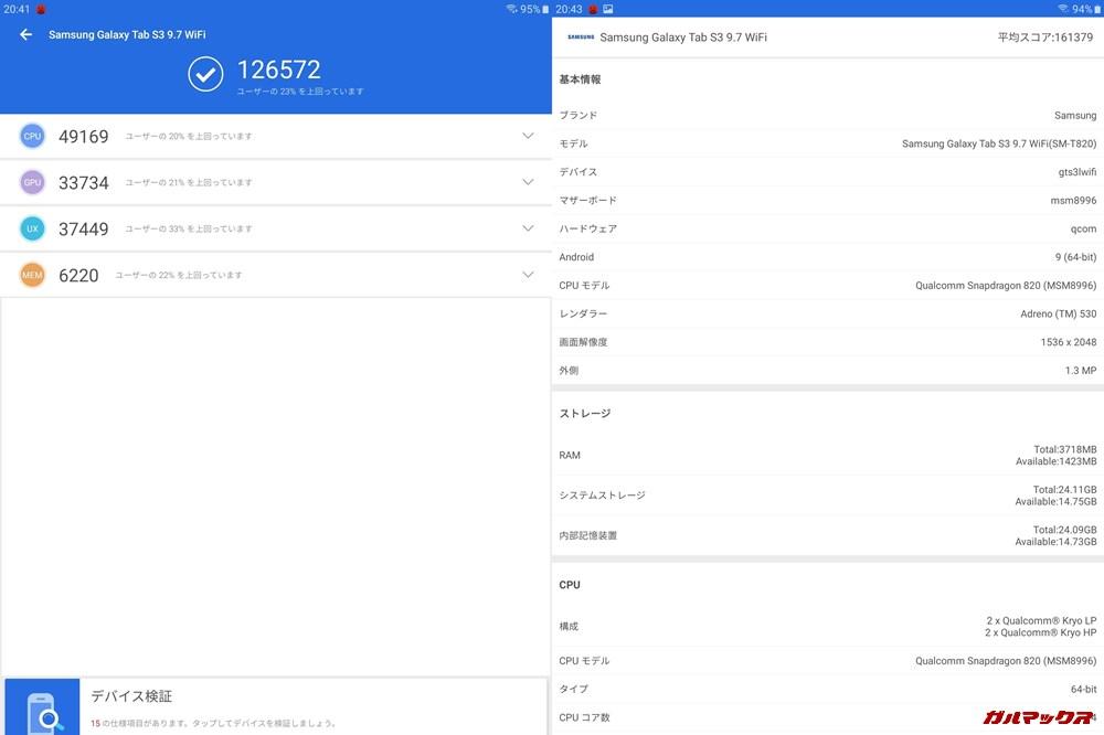 GalaxyTab S3(Android 9)実機AnTuTuベンチマークスコアは総合が126572点、3D性能が33734点。