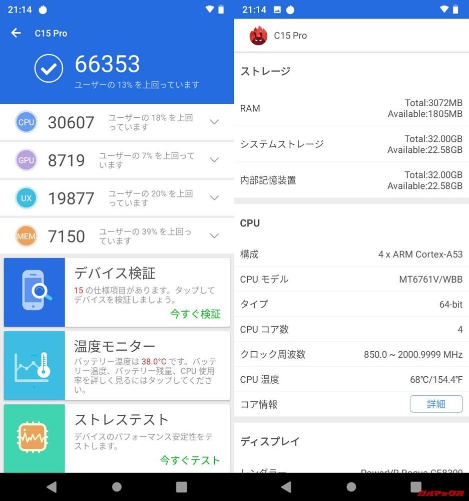 OUKITEL C15 Pro(Android 9)実機AnTuTuベンチマークスコアは総合が66353点、3D性能が8719点。