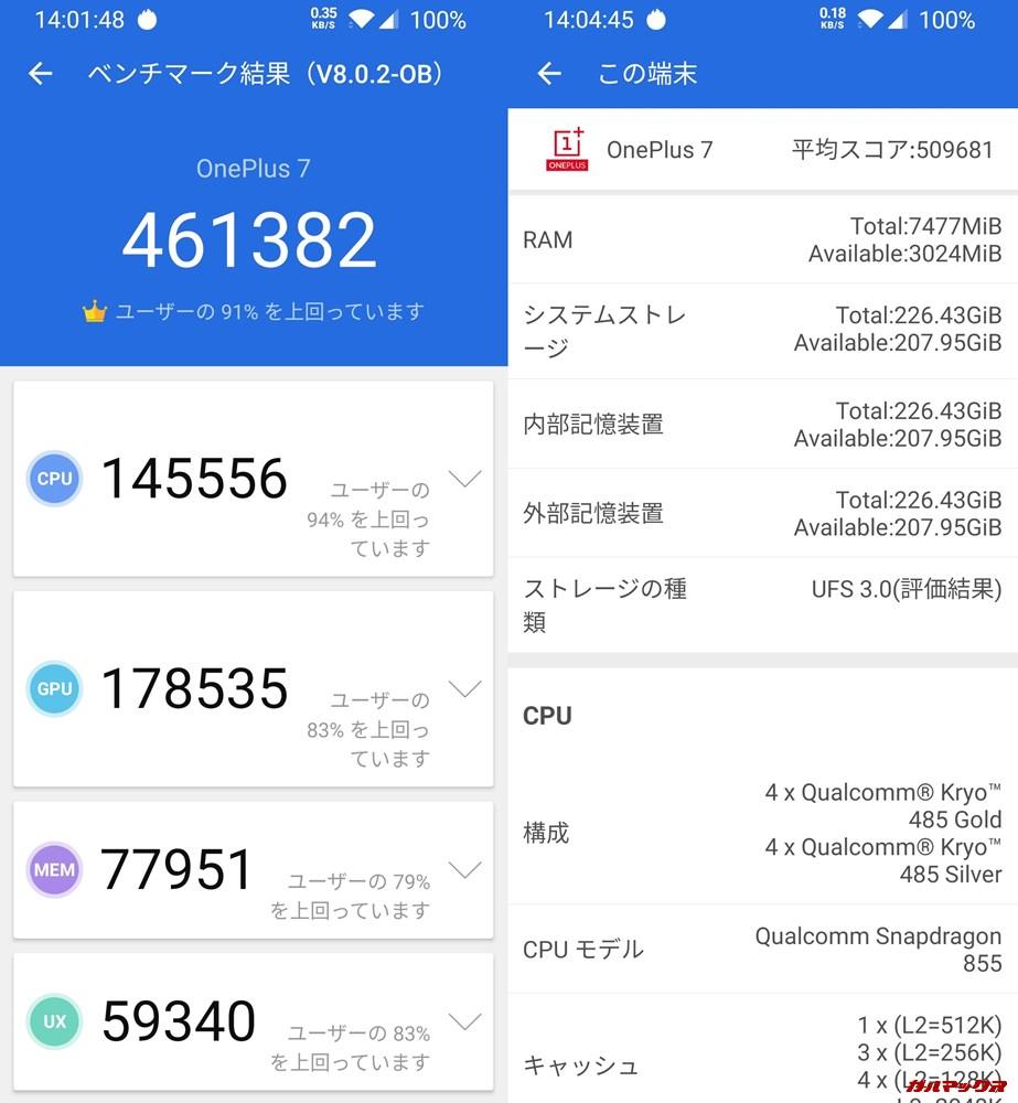 one plus 7/メモリ8GB(Android 10)実機AnTuTuベンチマークスコアは総合が461382点、3D性能が178535点。