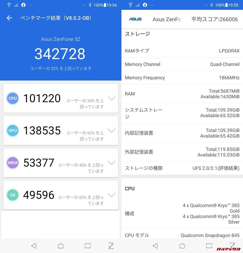 Zenfone 5Z(Android 9)実機AnTuTuベンチマークスコアは総合が342728点、3D性能が138535点。