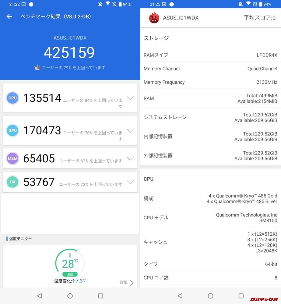 Zenfone6/メモリ8GB版(Android 9)実機AnTuTuベンチマークスコアは総合が425159点、3D性能が170473点。