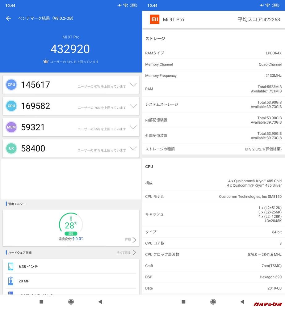 Xiaomi Mi 9T Pro/メモリ6GB版(Android 9)実機AnTuTuベンチマークスコアは総合が432920点、3D性能が169582点。