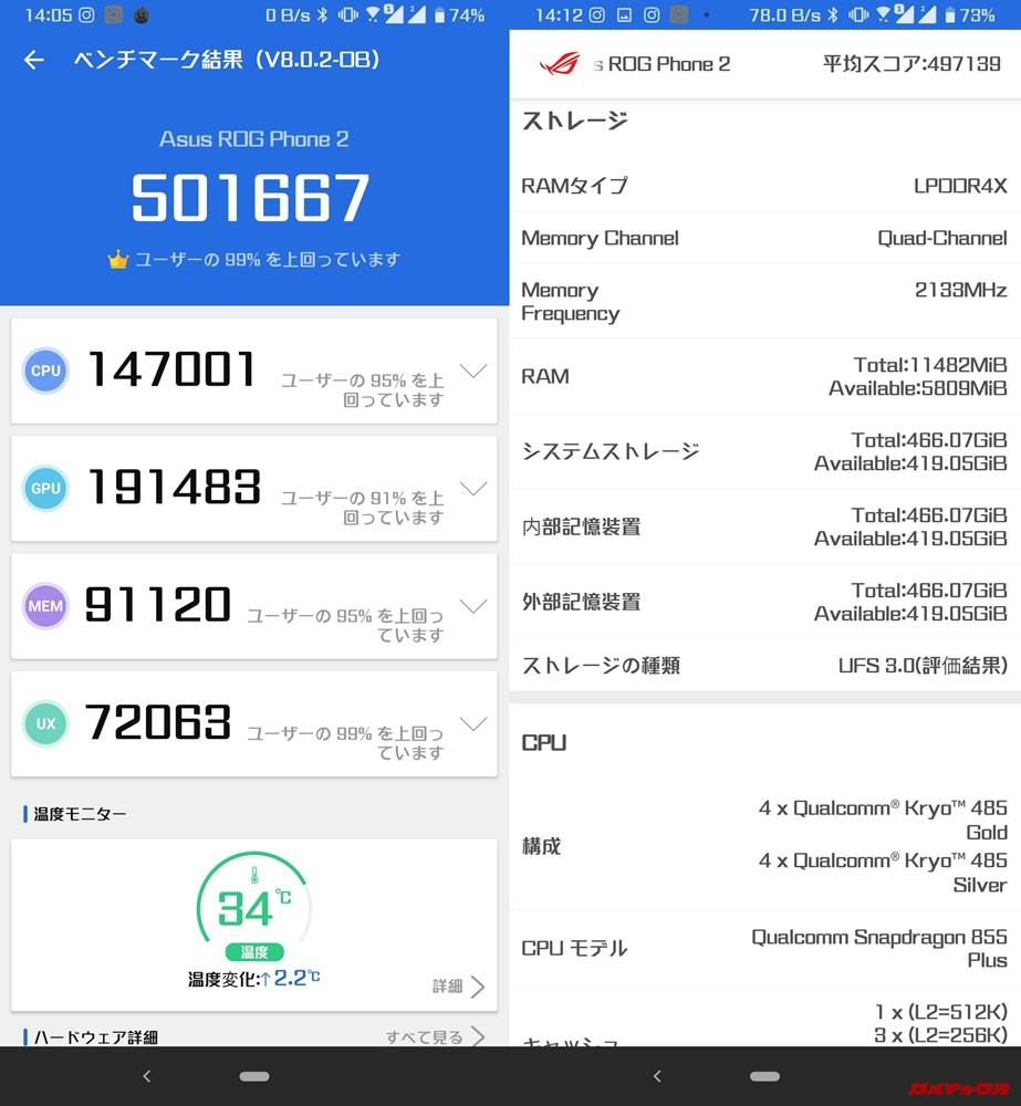 ROG Phone 2/メモリ12GB(Android 9)実機AnTuTuベンチマークスコアは総合が501667点、3D性能が191483点。