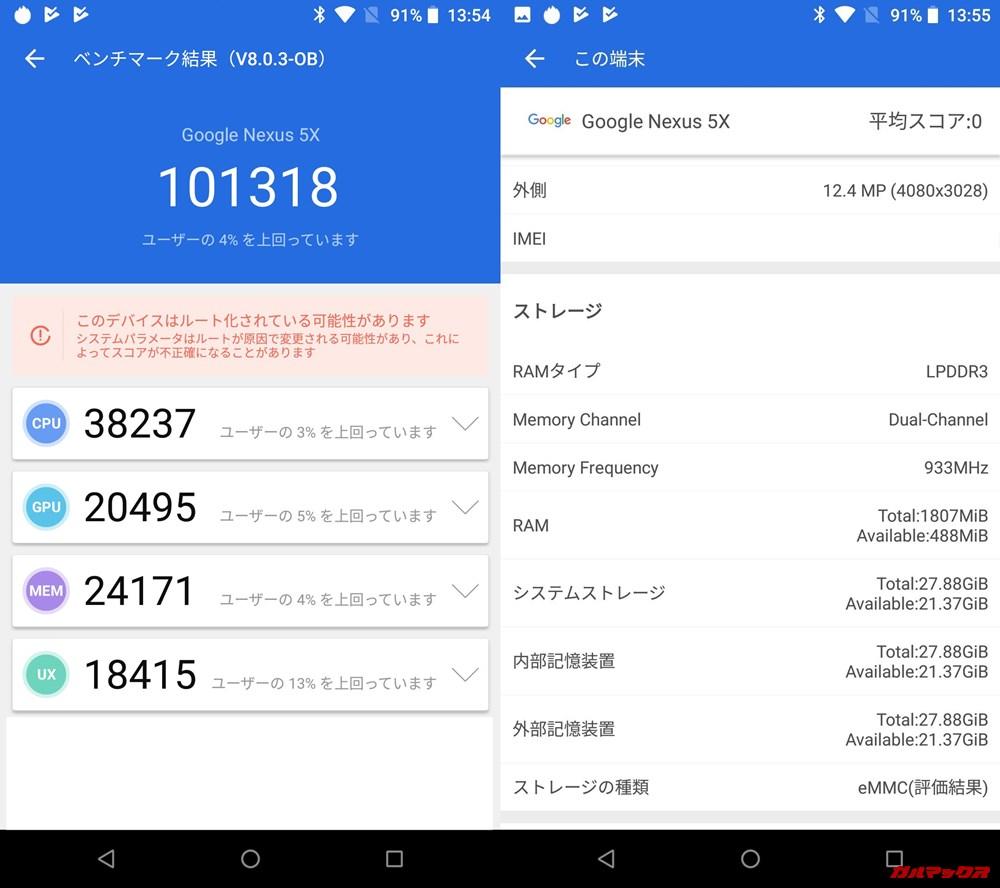Nexus 5x(Android 8.1)実機AnTuTuベンチマークスコアは総合が101318点、3D性能が20495点。