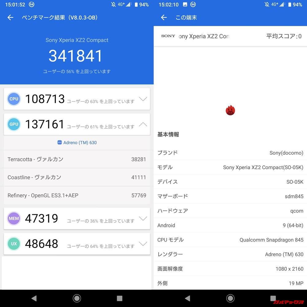 SONY Xperia XZ2 Compact(Android 9)実機AnTuTuベンチマークスコアは総合が341841点、3D性能が137161点。