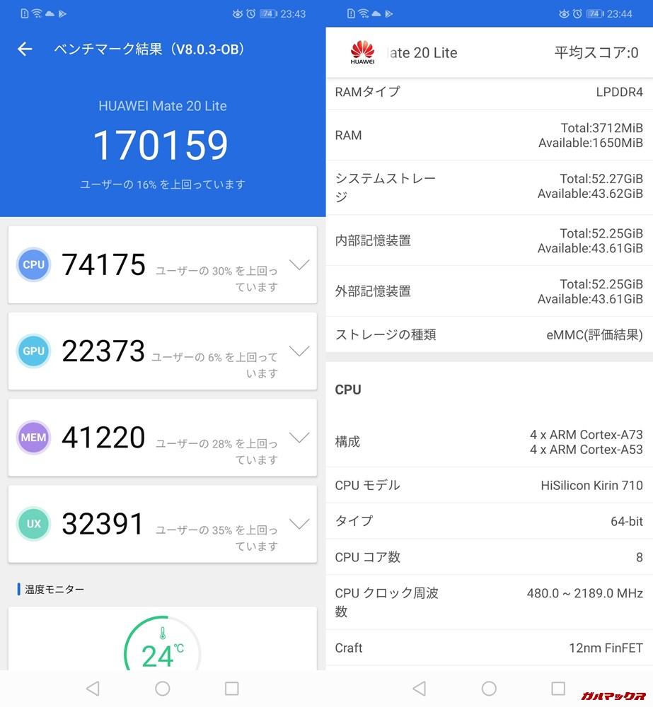 Huawei Mate20 lite(Android 9)実機AnTuTuベンチマークスコアは総合が136562点、3D性能が28075点。