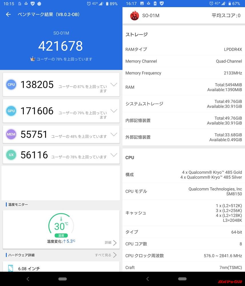 Xperia 5(Android 9)実機AnTuTuベンチマークスコアは総合が421678点、3D性能が171606点。