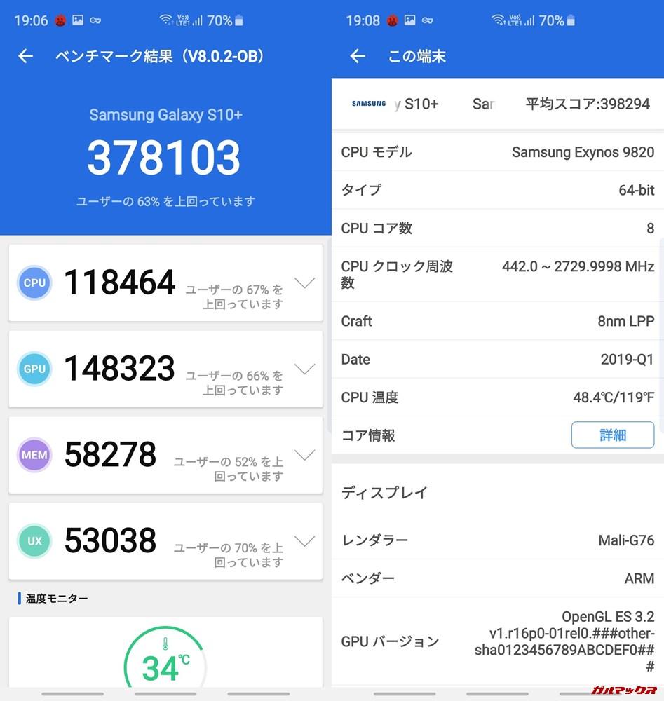 Galaxy S10+(Android 9)実機AnTuTuベンチマークスコアは総合が378103点、3D性能が148323点。