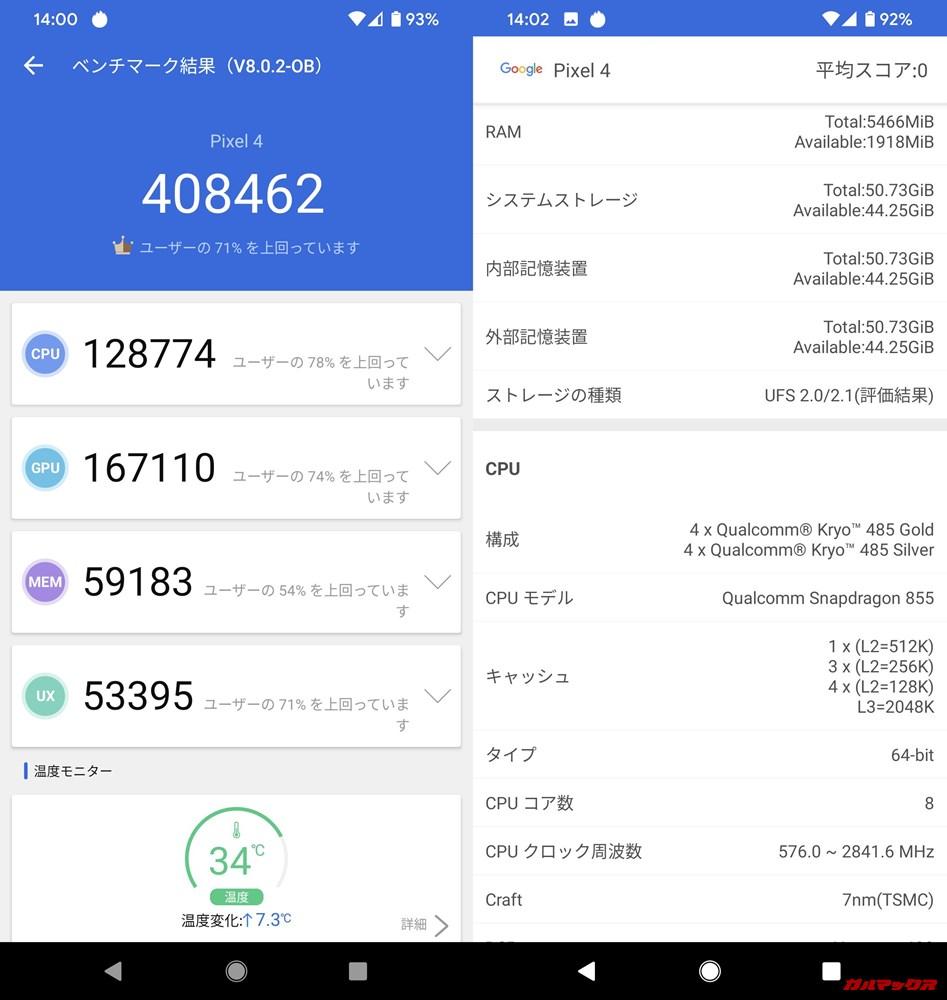Pixel 4(Android 10)実機AnTuTuベンチマークスコアは総合が408462点、3D性能が167110点。