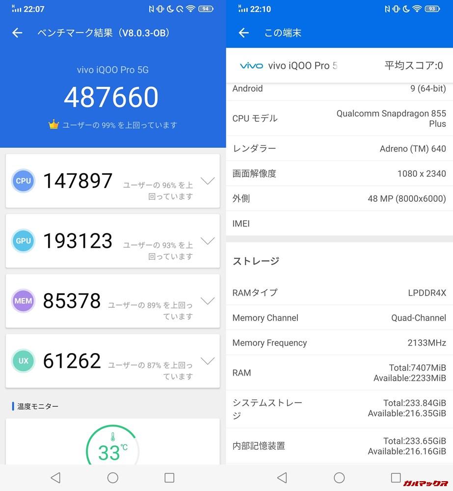 iQOO pro 5G(Android 9)実機AnTuTuベンチマークスコアは総合が487660点、3D性能が193123点。