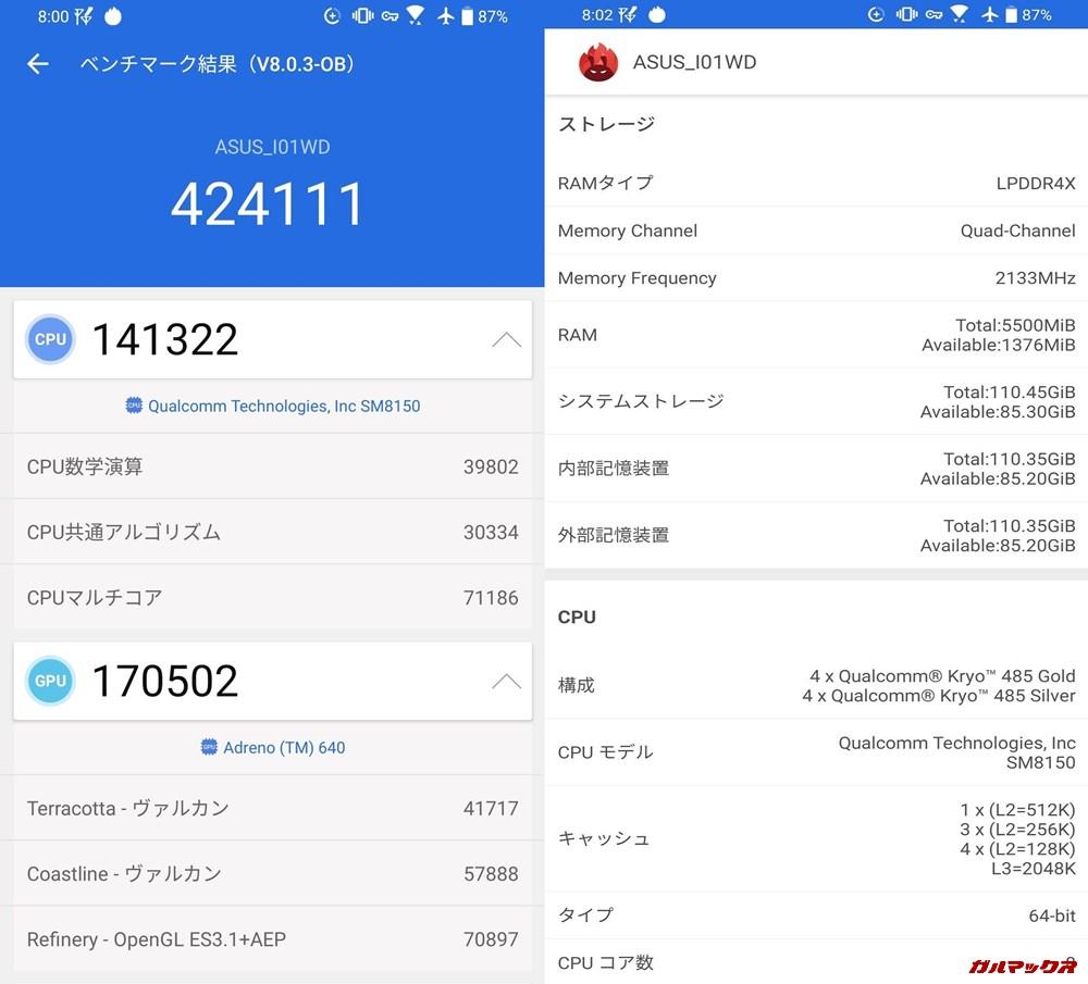 Zenfone 6実機AnTuTuベンチマークスコアは総合が424111点、3D性能が170502点。