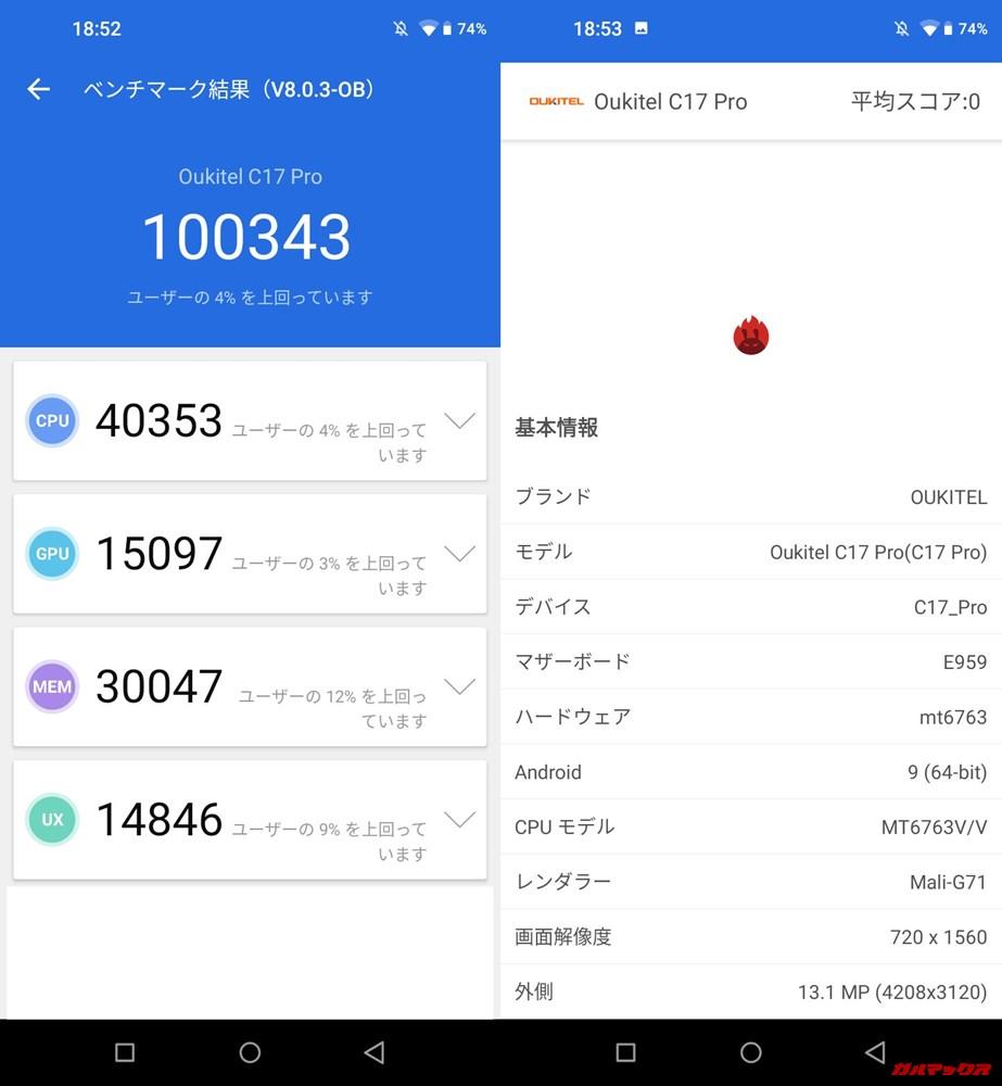 Oukitel C17 Pro/メモリ4GB(Android 9)実機AnTuTuベンチマークスコアは総合が100343点、3D性能が15097点。