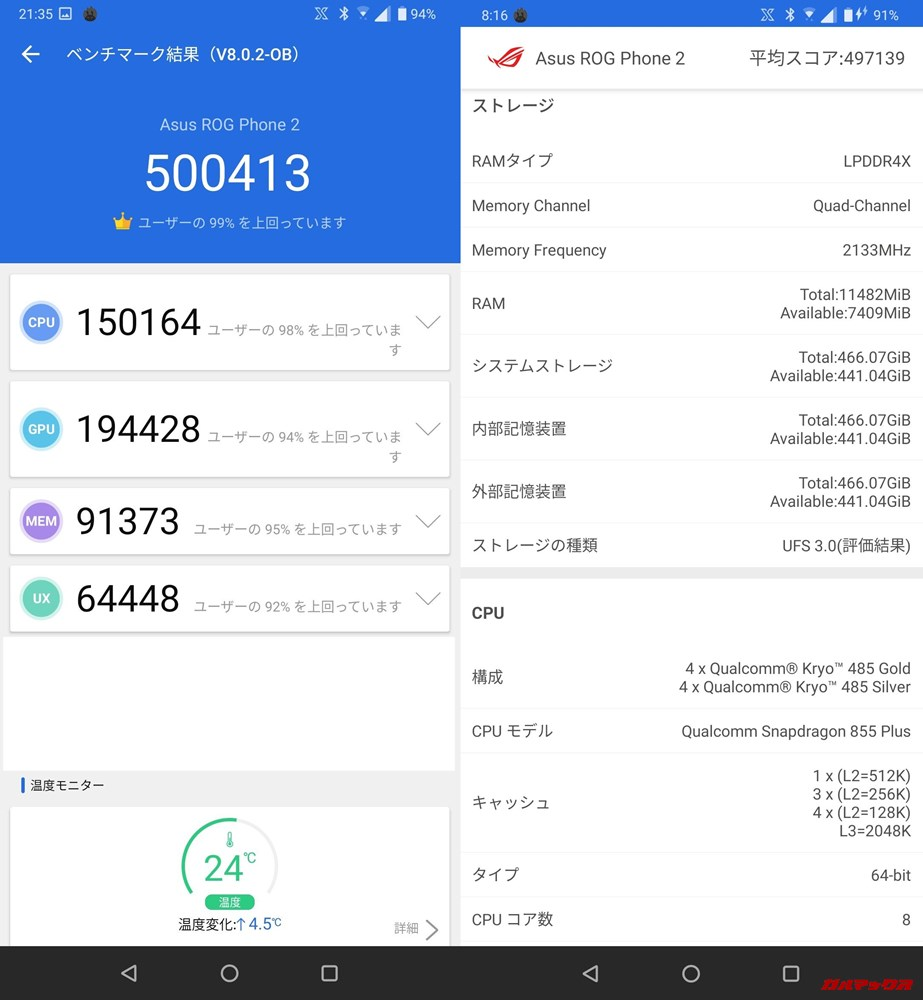ROG Phone 2/メモリ12GB(Android 9)実機AnTuTuベンチマークスコアは総合が500413点、3D性能が194428点。
