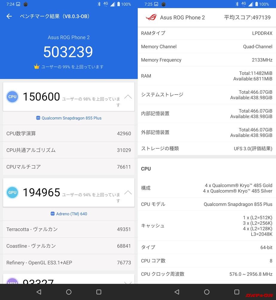 ROG Phone 2/メモリ12GB(Android 9)実機AnTuTuベンチマークスコアは総合が503239点、3D性能が194965点。
