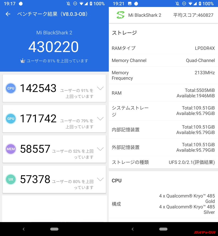 Xiaomi Black Shark 2/メモリ6GB版(Android 9)実機AnTuTuベンチマークスコアは総合が430220点、3D性能が171742点。