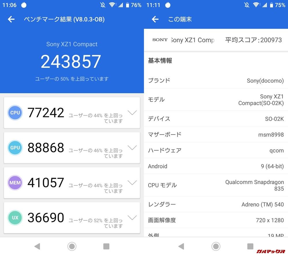 Xperia XZ1 Compact(Android 9.0)実機AnTuTuベンチマークスコアは総合が243857点、3D性能が88868点。