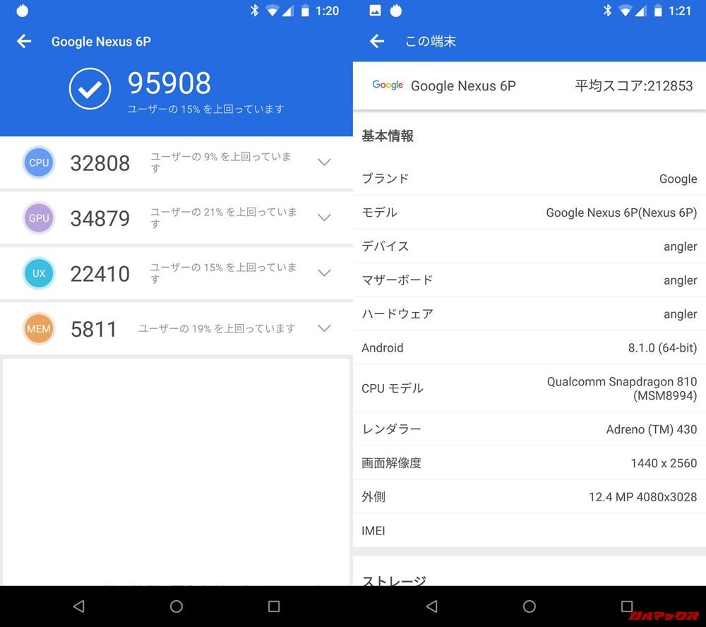 Nexus 6P(Android 9)実機AnTuTuベンチマークスコアは総合が95908点、3D性能が34879点。