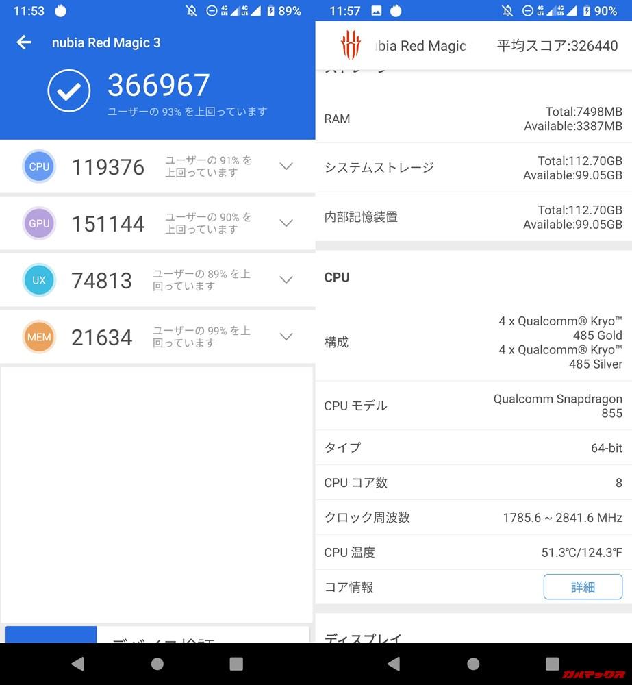 nubia Red Magic 3(Android 9)実機AnTuTuベンチマークスコアは総合が366967点、3D性能が151144点。