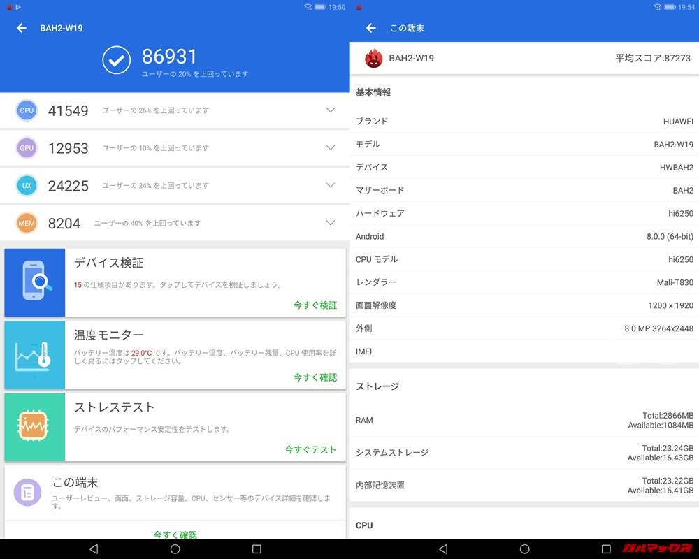 HUAWEI MediaPad M5 lite(Android 9)実機AnTuTuベンチマークスコアは総合が86931点、3D性能が12953点。