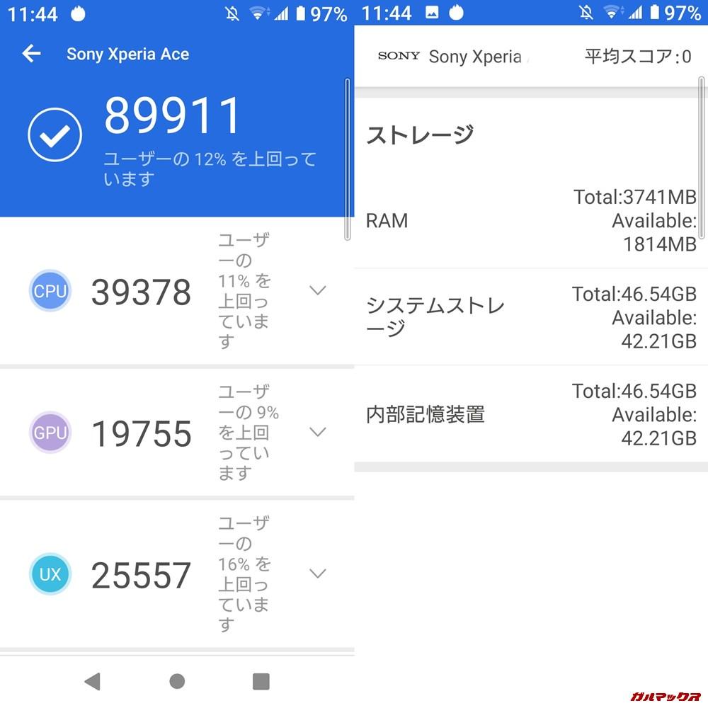 Xperia Ace(Android 9)実機AnTuTuベンチマークスコアは総合が89911点、3D性能が19755点。