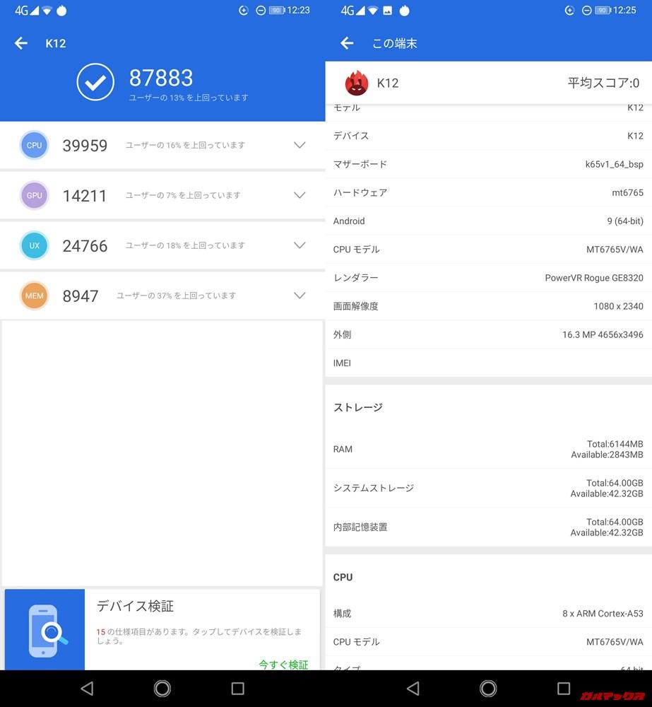 OUKITEL K12(Android 9)実機AnTuTuベンチマークスコアは総合が87883点、3D性能が14211点。