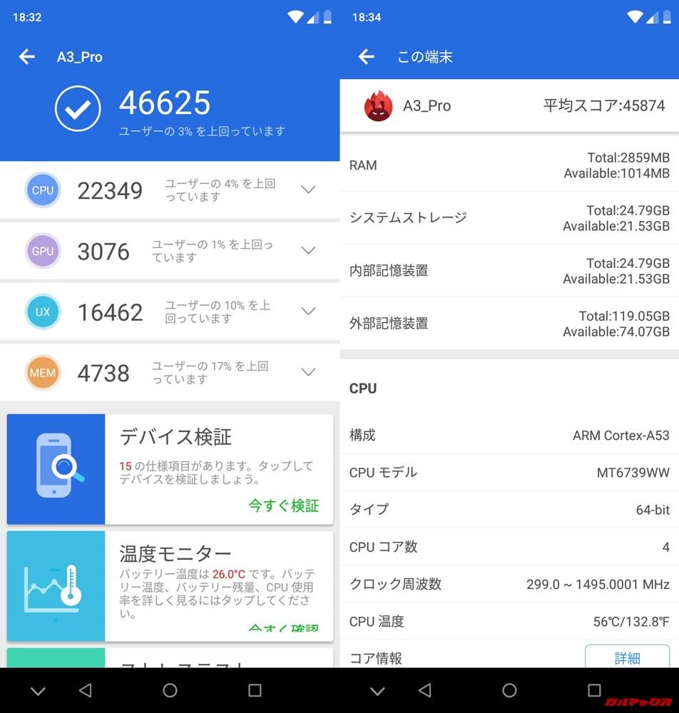UMIDIGI A3 Pro(Android 8.1)実機AnTuTuベンチマークスコアは総合が46625点、3D性能が3076点。