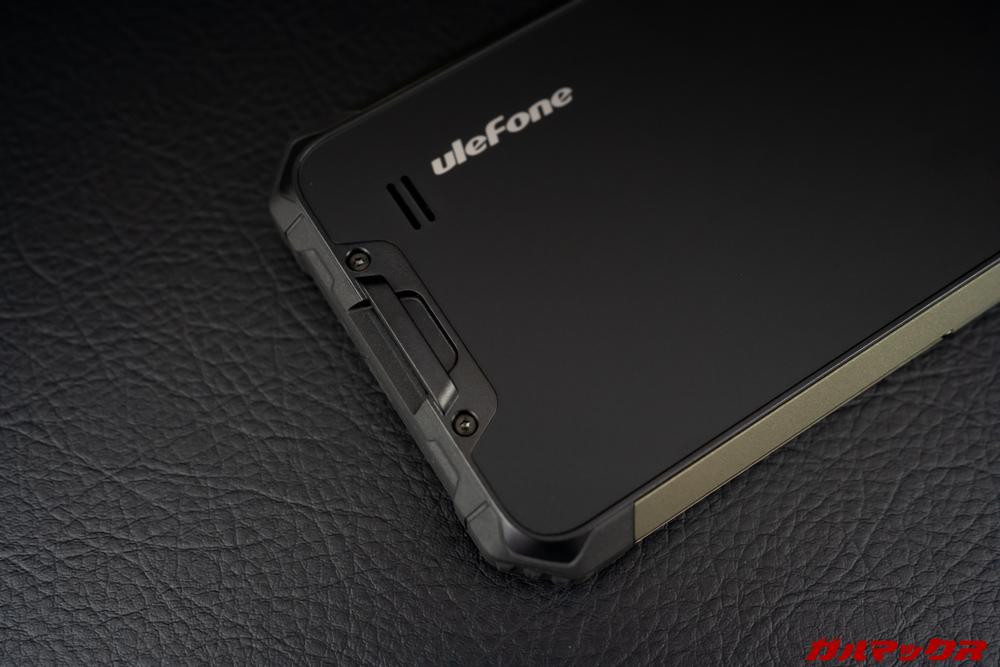 Ulefone Armor 7のスピーカーは本体背面に搭載。ストラップホールも備わっている。