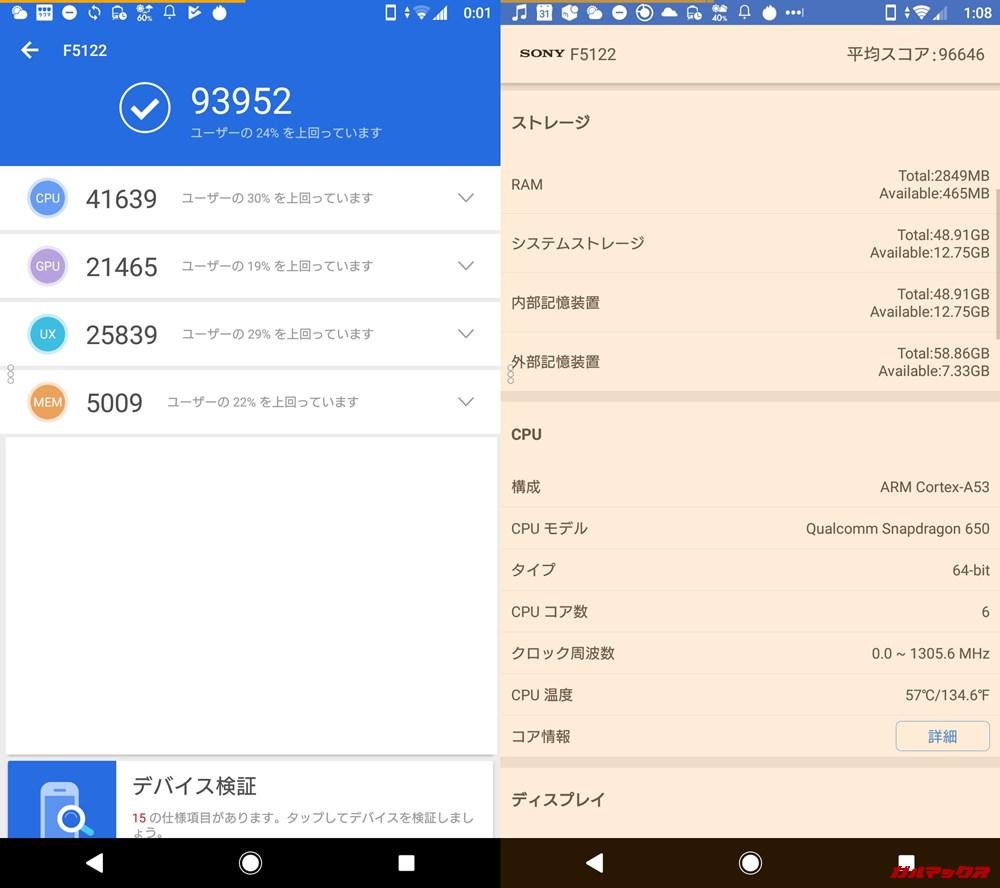 Xperia X(Android 9)実機AnTuTuベンチマークスコアは総合が93952点、3D性能が21465点。
