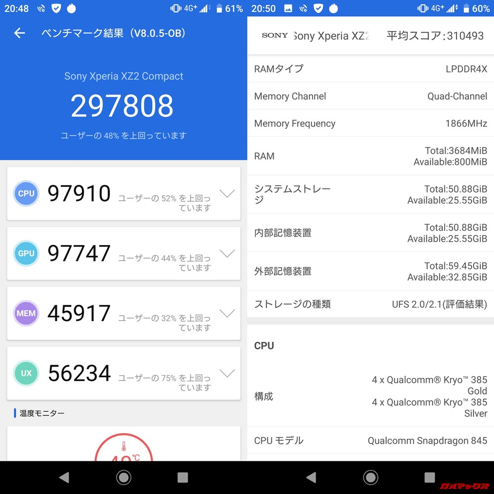 SONY Xperia XZ2 Compact(Android 9)実機AnTuTuベンチマークスコアは総合が297808点、3D性能が97747点。