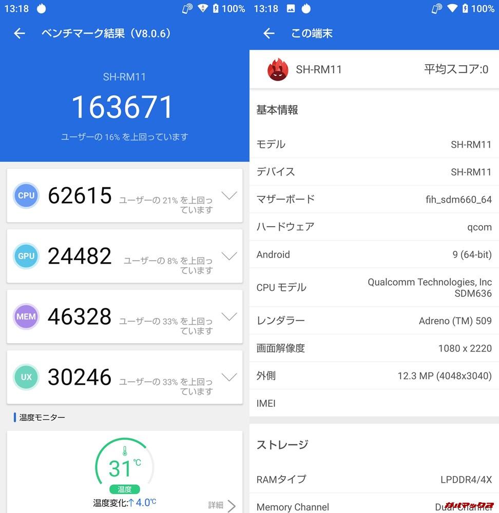 AQUOS Sense3 Plus(Android 9)実機AnTuTuベンチマークスコアは総合が163671点、3D性能が24482点。