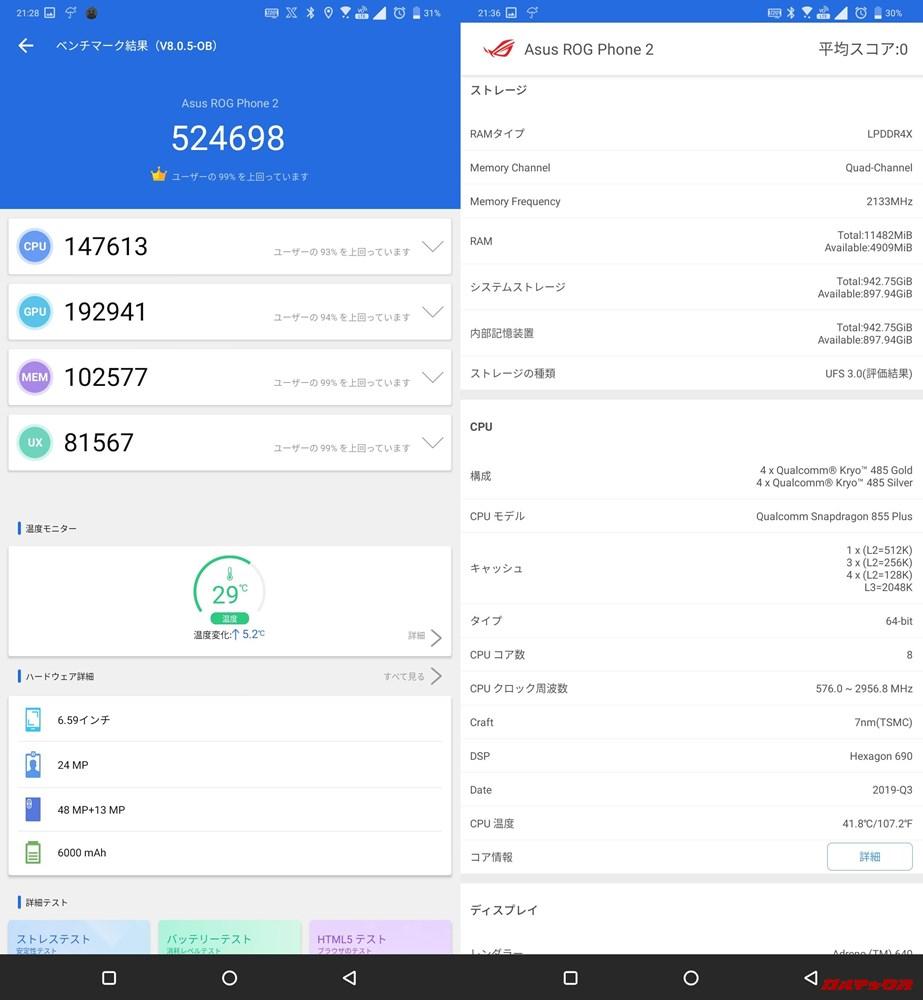 ROG Phone 2/メモリ12GB(Android 9)実機AnTuTuベンチマークスコアは総合が524698点、3D性能が192941点。