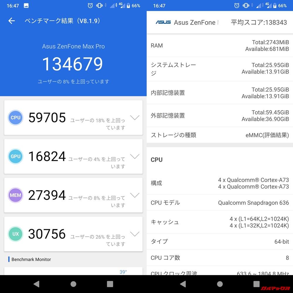 ZenFone Max Pro/ZB602KL(Android 9)実機AnTuTuベンチマークスコアは総合が134679点、3D性能が16824点。